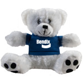Plush Big Paw 8 1/2 inch White Bear w/Navy Shirt-Bendix
