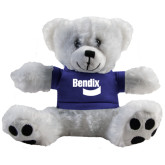 Plush Big Paw 8 1/2 inch White Bear w/Royal Shirt-Bendix