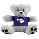 Plush Big Paw 8 1/2 inch White Bear w/Royal Shirt-Bendix