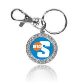 Crystal Studded Round Key Chain-Big S