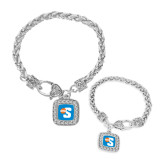Silver Braided Rope Bracelet With Crystal Studded Square Pendant-Big S