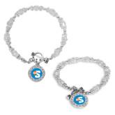 Crystal Jewel Toggle Bracelet with Round Pendant-Big S