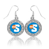 Crystal Studded Round Pendant Silver Dangle Earrings-Big S