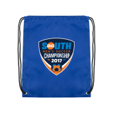 Royal Drawstring Backpack-Big South Mens Soccer Championship 2017
