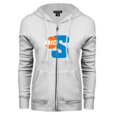 ENZA Ladies White Fleece Full Zip Hoodie-Big S