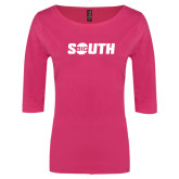 Ladies Dark Fuchsia Perfect Weight 3/4 Sleeve Tee-Big South