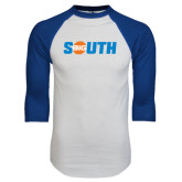 White/Royal Raglan Baseball T Shirt-Big South