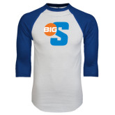 White/Royal Raglan Baseball T Shirt-Big S