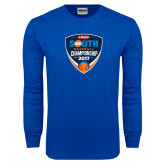 Royal Long Sleeve T Shirt-Hardies Big South Baseball Championship 2017