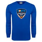 Royal Long Sleeve T Shirt-Big South Mens Soccer Championship 2017