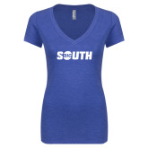 Next Level Ladies Vintage Royal Tri Blend V-Neck Tee-Big South
