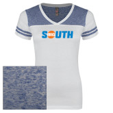 Ladies White/Heathered Deep Royal Juniors Varsity V Neck Tee-Big South