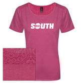 Ladies Dark Fuchsia Heather Tri-Blend Lace Tee-Big South