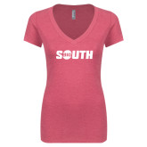Next Level Ladies Vintage Pink Tri Blend V-Neck Tee-Big South