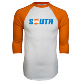 White/Orange Raglan Baseball T Shirt-Big South