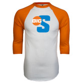 White/Orange Raglan Baseball T Shirt-Big S