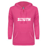 ENZA Ladies Hot Pink V Notch Raw Edge Fleece Hoodie-Big South