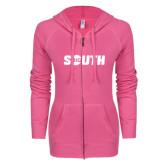 ENZA Ladies Hot Pink Light Weight Fleece Full Zip Hoodie-Big South