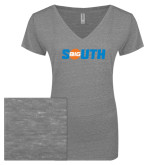 ENZA Ladies Graphite Melange V Neck Tee-Big South