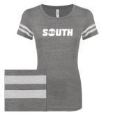 ENZA Ladies Dark Heather/White Vintage Triblend Football Tee-Big South
