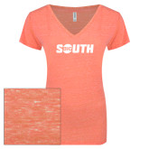 ENZA Ladies Coral Melange V Neck Tee-Big South