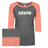 ENZA Ladies Dark Heather/Coral Vintage Triblend Baseball Tee-Big South