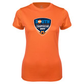 Ladies Syntrel Performance Orange Tee-Big South Mens Soccer Championship 2017