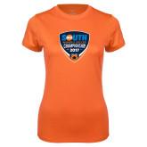 Ladies Syntrel Performance Orange Tee-Big South Womens Soccer Championship 2017