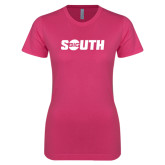 Ladies SoftStyle Junior Fitted Fuchsia Tee-Big South