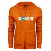 ENZA Ladies Orange Fleece Full Zip Hoodie-Big South