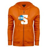 ENZA Ladies Orange Fleece Full Zip Hoodie-Big S