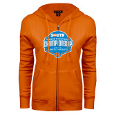 ENZA Ladies Orange Fleece Full Zip Hoodie-Big South Womens Basketball Championship