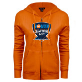 ENZA Ladies Orange Fleece Full Zip Hoodie-Big South Track and Field Championship