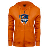 ENZA Ladies Orange Fleece Full Zip Hoodie-Hardies Big South Baseball Championship 2017