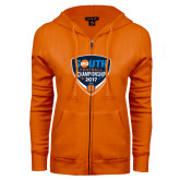 ENZA Ladies Orange Fleece Full Zip Hoodie-Big South Football Championship 2017