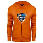 ENZA Ladies Orange Fleece Full Zip Hoodie-Big South Mens Soccer Championship 2017