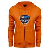 ENZA Ladies Orange Fleece Full Zip Hoodie-Big South Tennis Championship 2017