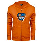 ENZA Ladies Orange Fleece Full Zip Hoodie-Big South Volleyball Championship 2017