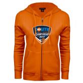ENZA Ladies Orange Fleece Full Zip Hoodie-Big South Womens Lacrosse Championship 2017