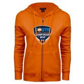 ENZA Ladies Orange Fleece Full Zip Hoodie-Big South Womens Soccer Championship 2017