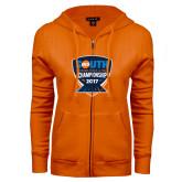 ENZA Ladies Orange Fleece Full Zip Hoodie-Big South Outdoor Track and Field Championship 2017
