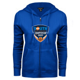 ENZA Ladies Royal Fleece Full Zip Hoodie-Big South Mens Basketball Championship 2017