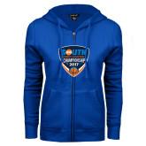 ENZA Ladies Royal Fleece Full Zip Hoodie-Big South Womens Basketball Championship 2017