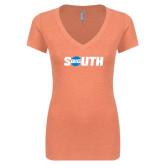 Next Level Ladies Vintage Light Orange Tri Blend V-Neck Tee-Big South