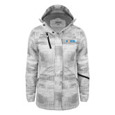 Ladies White Brushstroke Print Insulated Jacket-Big South