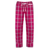 Ladies Dark Fuchsia/White Flannel Pajama Pant-Big South