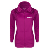 Ladies Sport Wick Stretch Full Zip Deep Berry Jacket-Big South