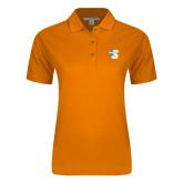 Ladies Easycare Orange Pique Polo-Big S