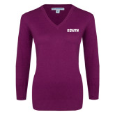 Ladies Deep Berry V Neck Sweater-Big South