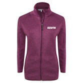 Dark Pink Heather Ladies Fleece Jacket-Big South